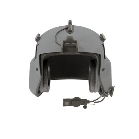 Helicopter Pilot Helmet on white. 3D illustration Stock Photo