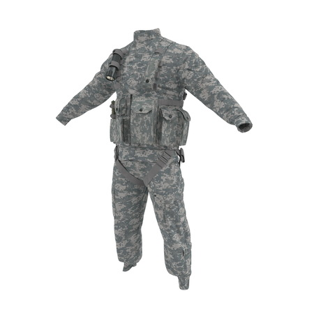 US Helicopter Pilot Uniform on white. 3D illustration
