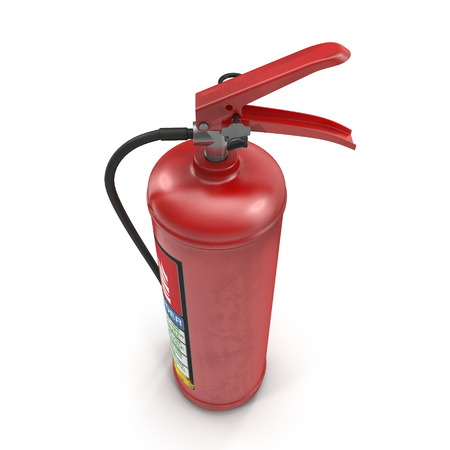 Red fire extinguisher isolated on white. 3d illustration