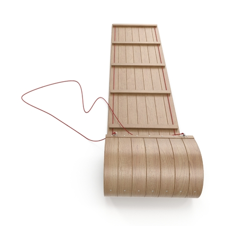 Classic Wooden Toboggan on white. 3D illustration