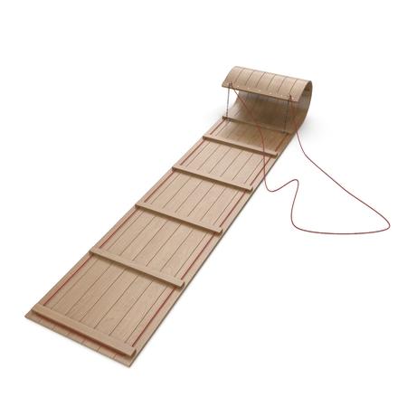 Classic Wooden Toboggan on white. 3D illustration