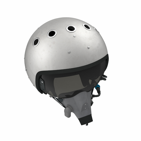 Russian Jet Fighter Pilot Helmet on white. 3D illustration
