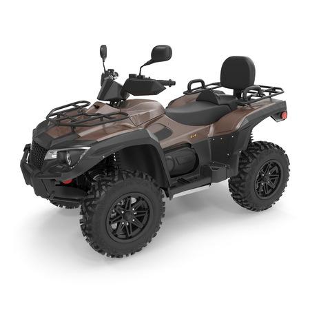 ATV Allradfahrrad auf Weiß. 3D-Illustration