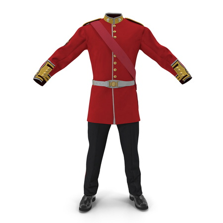Irish Guard Sergeant Uniform on white. 3D illustration