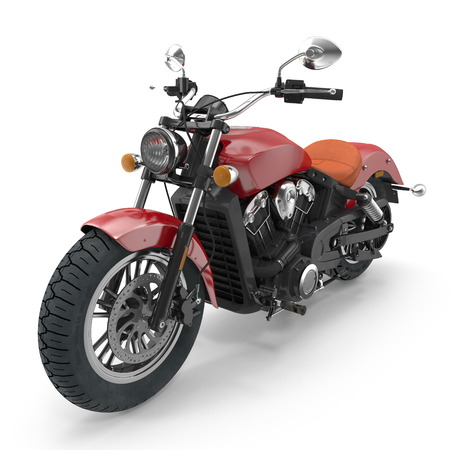 Classic Motorbike isolated on white. 3D illustration 스톡 콘텐츠