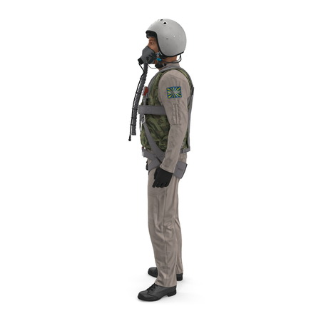 Russian Jet Fighter Military Pilot on white. Side view. 3D illustration 免版税图像