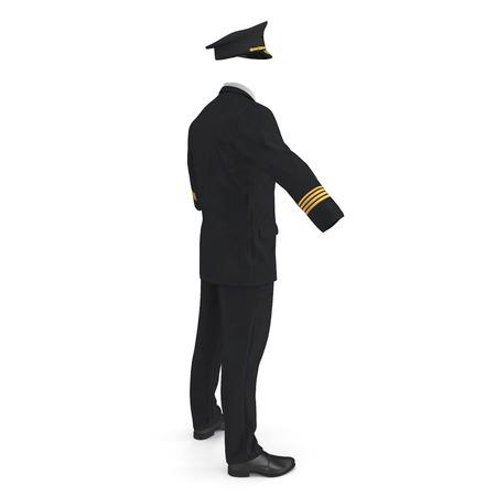 Airline Pilot Uniform on white. 3D illustration