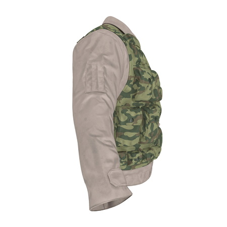 Military Shirt and Camouflage Vest on white. 3D illustration