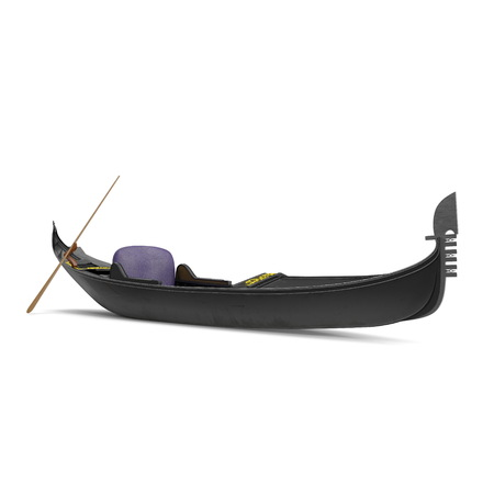 Gondola Boat on white. 3D illustration Archivio Fotografico