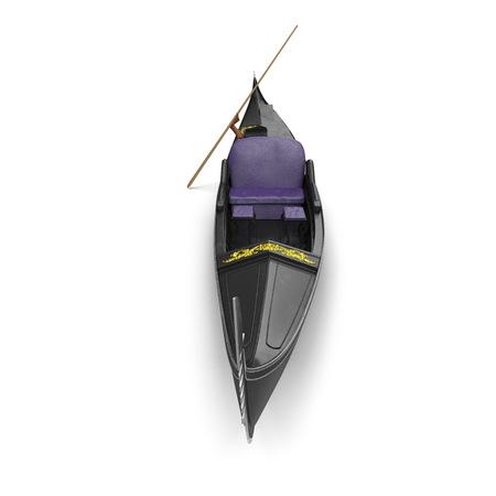 Gondola Boat on white. Front view. 3D illustration