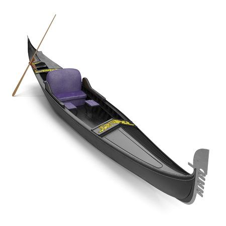 Gondola Boat on white. 3D illustration Фото со стока