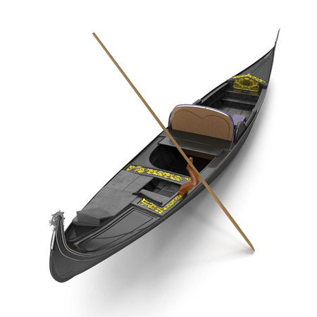 Gondola Boat on white. 3D illustration Banco de Imagens