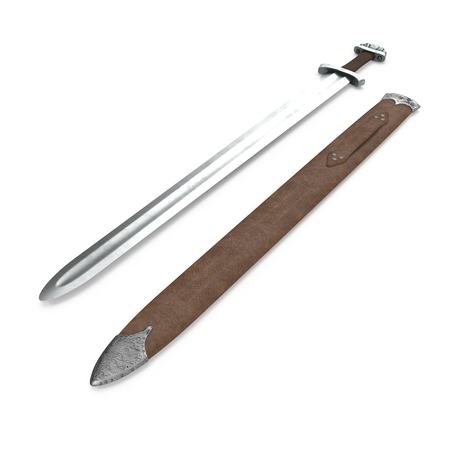 Medieval Viking Sword with Steath on white. 3D illustration
