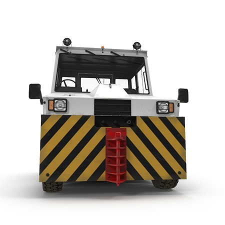 Diesel Aircraft Tow Tractor on white. Front view. 3D illustration