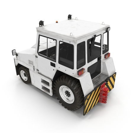 Aircraft Towing Tractor on white. 3D illustration Stock Photo