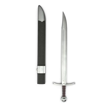 European Falchion Sword with Sheath on white. Top view. 3D illustration Фото со стока