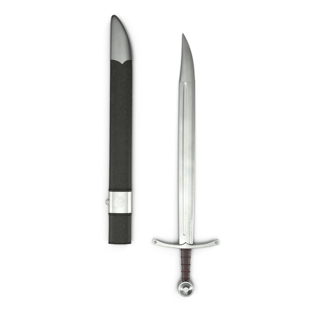 European Falchion Sword with Sheath on white. Top view. 3D illustration Stock Photo