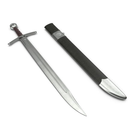 European Falchion Sword with Sheath on white. 3D illustration