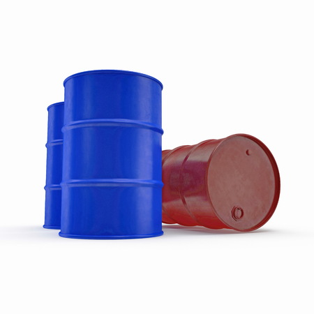 Oil barrels isolated on white. 3D illustration Standard-Bild