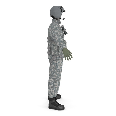 US Military Pilot Uniform on white. Side view. 3D illustration