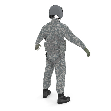 US Military Pilot Uniform on white. 3D illustration