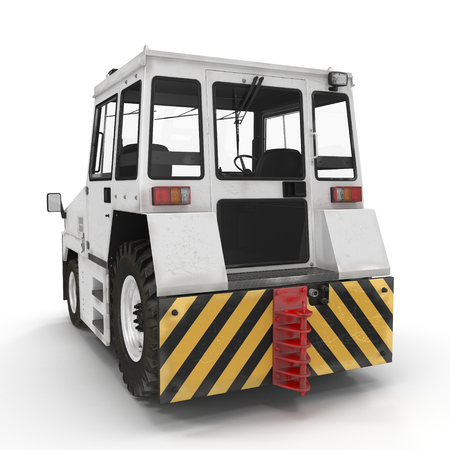 Diesel Aircraft Tow Tractor on white. 3D illustration Stock Photo