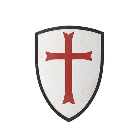 Knights Templar Shield on white. 3D illustration