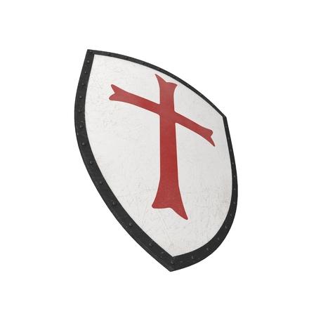 Knights Templar Shield on white. 3D illustration