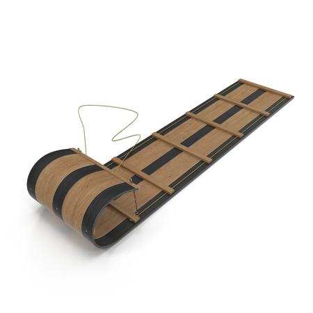 Wooden Sled Toboggan on white background. 3D illustration