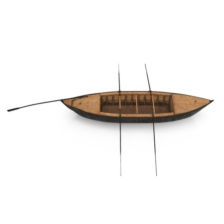 Wooden Durham Boat on white. Top view. 3D illustration Stock Photo