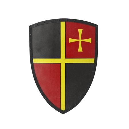 European Medieval Heater Shield on white. 3D illustration Stockfoto