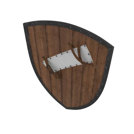European Medieval Heater Shield on white. 3D illustration Stock Photo