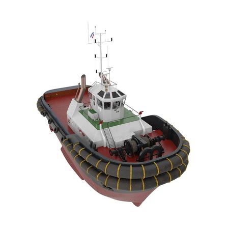Harbour Tug Boat on white. 3D illustration