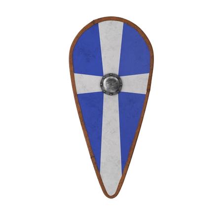 Norman Shield su bianco. Illustrazione 3D