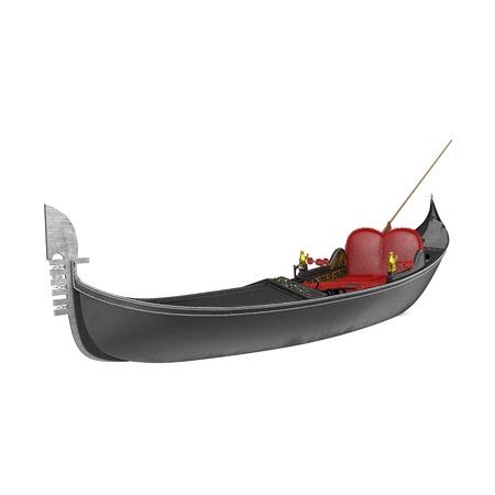Venice Luxury Gondola Boat on white background. 3D illustration