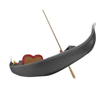 Venice Luxury Gondola Boat on white background. 3D illustration Фото со стока - 105500377