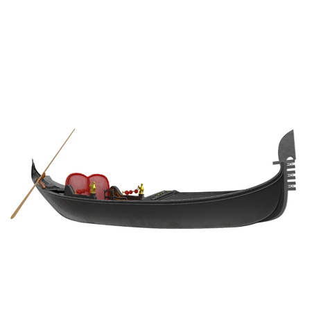 Venice Luxury Gondola Boat on white background. 3D illustration