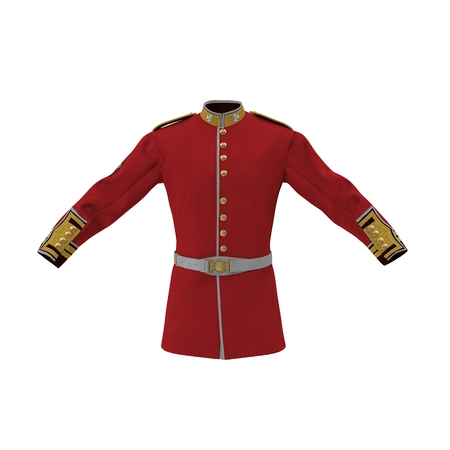 Irish Guard Sergeant Tunic and Belt on white background. 3D illustration Stok Fotoğraf