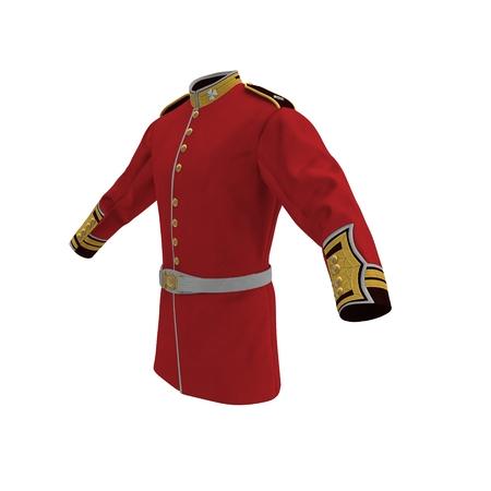 Irish Guard Sergeant Tunic and Belt on white background. 3D illustration Reklamní fotografie