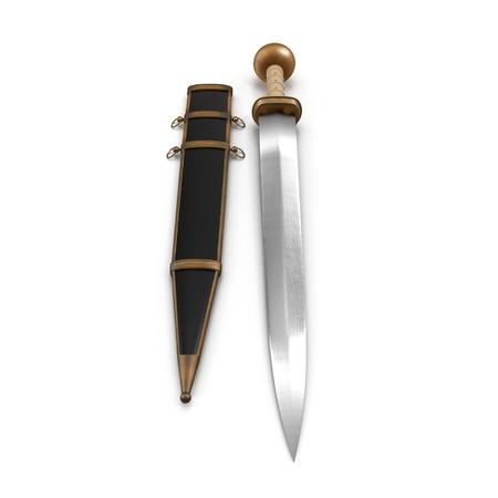Roman Gladius Short Sword with Sheath on white background. 3D illustration