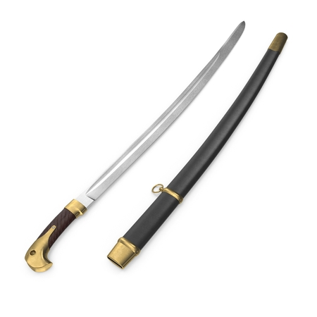 Soviet Era Cossack Sabre with Sheath on white background. 3D illustration