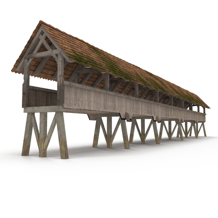Wooden Footbridge on white. 3D illustration