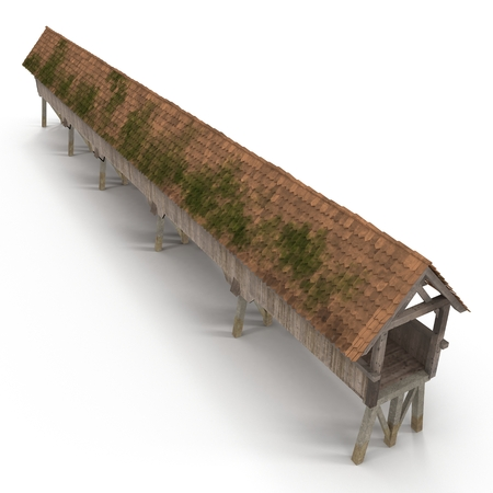 Wooden Footbridge on white. 3D illustration Banco de Imagens - 105550313