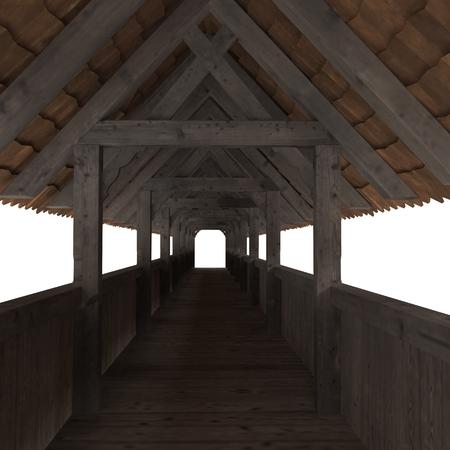 Wooden Footbridge on white. 3D illustration