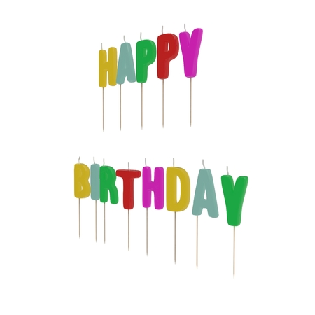 Happy Birthday Candles on white background. 3D illustration
