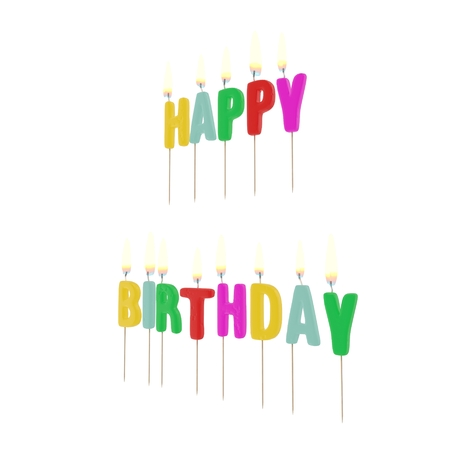 Happy Birthday Candles with Flame on white background. 3D illustration Stock Photo