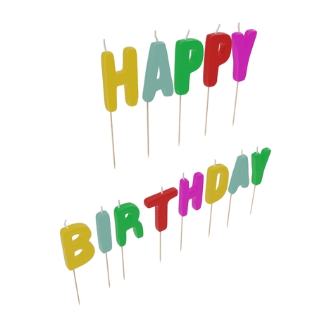 Happy Birthday Candles on white. 3D illustration
