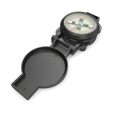 Tourist Compass on white. 3D illustration Stock Illustration - 105649876
