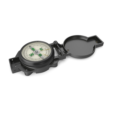 Tourist Compass on white. 3D illustration Stock Illustration - 105650021