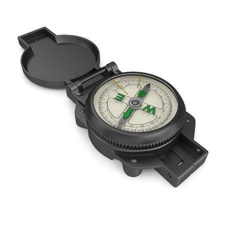 Tourist Compass on white. 3D illustration Stock Illustration - 105650023